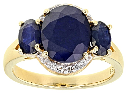 Photo of 3.74ctw Oval Blue Sapphire with .11ctw Round White Zircon 18k Gold Over Sterling Silver Ring - Size 7