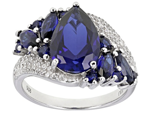Photo of 4.40CTW MIXED SHAPE LAB CREATED BLUE SAPPHIRE WITH .38CTW WHITE ZIRCON RHODIUM OVER SILVER RING - Size 8