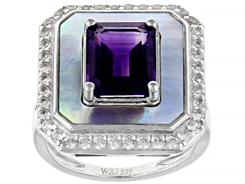 Photo of 3.13CTW AFRICAN AMETHYST, WHITE MOTHER OF PEARL, WHITE ZIRCON RHODIUM OVER SILVER RING - Size 7