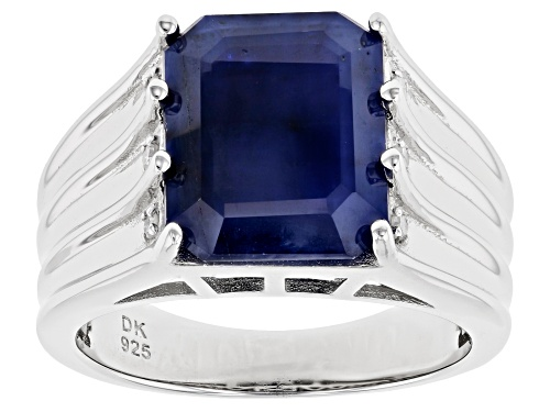 Photo of 6.12ct Emerald Cut Blue Sapphire With .05ctw Diamond Accent Rhodium Over Sterling Silver Ring - Size 7