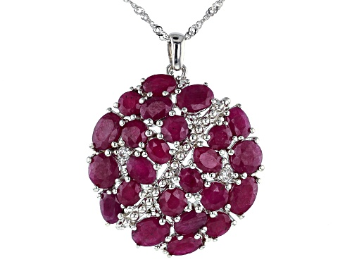 Photo of 16.13ctw Oval & Round Indian Ruby with .20ctw White Zircon Rhodium Over Silver Pendant W/Chain