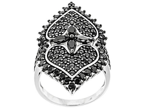 Photo of 3.30ctw Marquise And Round Black Spinel Rhodium Over Sterling Silver Cocktail Ring - Size 7