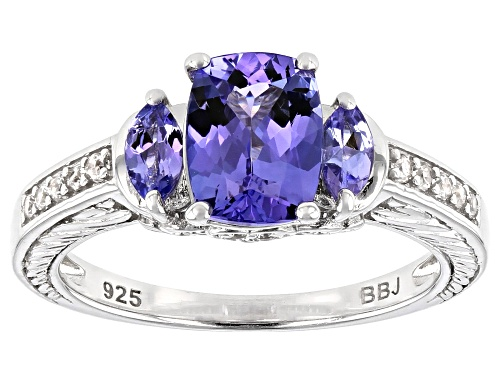 Photo of 1.54ctw Rectangular Cushion & Marquise Tanzanite With .14ctw White Zircon Rhodium Over Silver Ring - Size 8