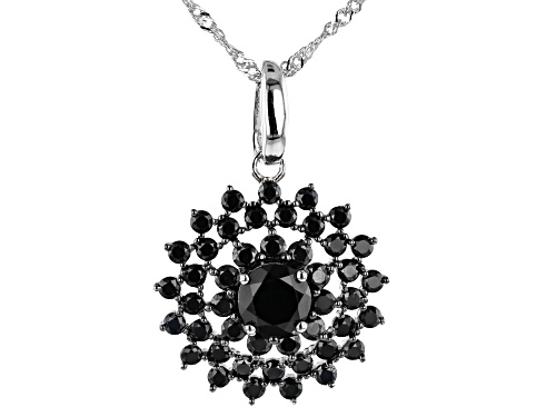 Photo of 3.96ctw Round Black Spinel Cluster, Rhodium Over Sterling Silver Enhancer With Chain
