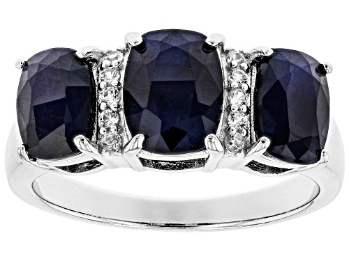 Photo of 3.70CTW CUSHION BLUE SAPPHIRE WITH .08CTW WHITE ZIRCON RHODIUM OVER SILVER RING - Size 7