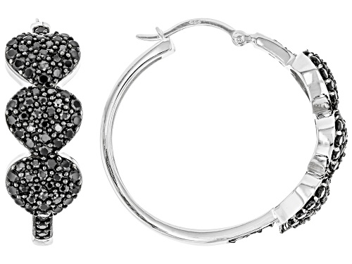 Photo of 2.93ctw Round Black Spinel Rhodium Over Sterling Silver Heart Hoop Earrings