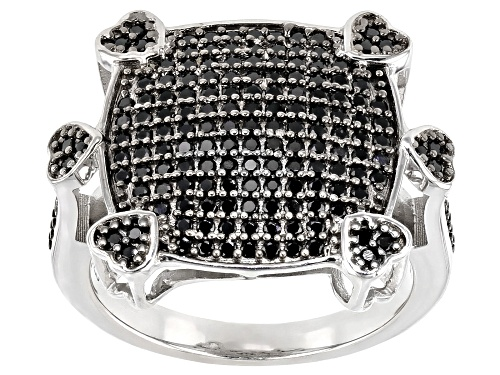 Photo of .79ctw Round Black Spinel Rhodium Over Sterling Silver Heart Detail Cluster Ring - Size 7