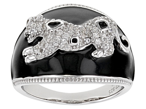 Photo of .60ctw white zircon and black enamel rhodium over sterling silver panther ring - Size 7