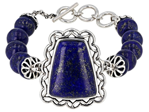 25X20MM FREE-FORM AND 10MM ROUND LAPIS LAZULI RHODIUM OVER STERLING SILVER BRACELET - Size 7.25