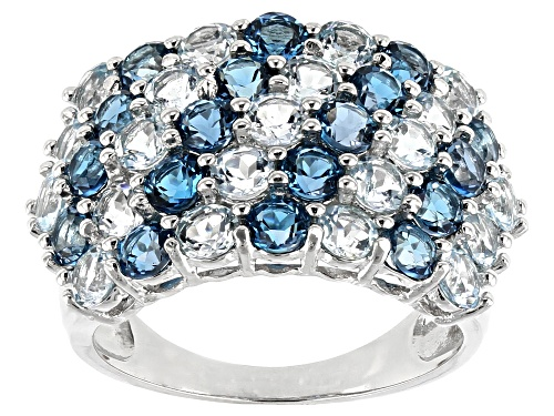 Photo of 1.98ctw Round London Blue and 2.32ctw Round Glacier Topaz(TM) Rhodium Over Silver Band Ring - Size 7
