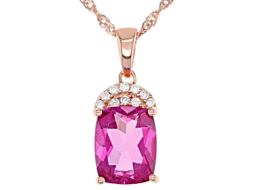 Photo of 3.40ct Cushion Pink Topaz & .11ctw White Zircon 18k Rose Gold Over Silver Pendant W/Chain