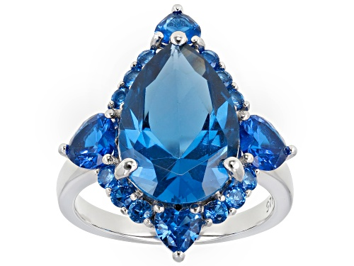 Photo of 7.17ctw Mixed Shape Lab Created Blue Spinel Rhodium Over Sterling Silver Ring - Size 7
