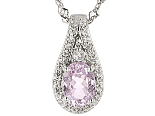 Photo of 1.52ct Oval Kunzite With .38ctw Round White Zircon Rhodium Over Sterling Silver Slide With Chain