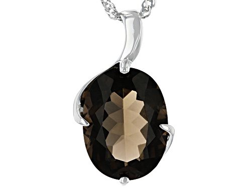 7.82ct Oval Smoky Quartz Rhodium Over Silver Solitaire Pendant With Chain