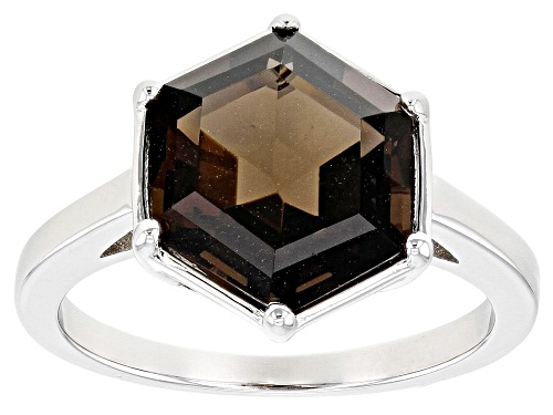 Photo of 3.83ct Hexagonal Smoky Quartz Rhodium Over Sterling Silver Solitaire Ring - Size 8