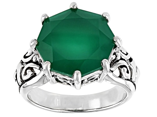 Photo of 5.20CT ROUND OCTAGONAL GREEN ONYX RHODIUM OVER STERLING SILVER SOLITAIRE RING - Size 7