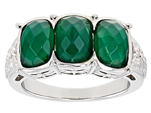 Photo of 2.32ctw mixed shapes green onyx rhodium over sterling silver 3-stone ring. - Size 7