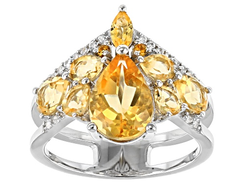 Photo of 2.87ctw Mixed Shape Citrine With .09ctw Round White Zircon Rhodium Over Silver Band Ring - Size 7