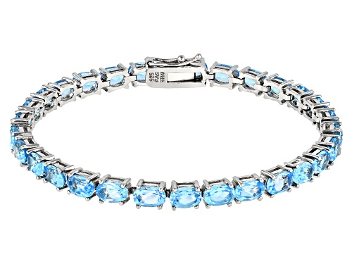 Photo of 14.50ctw Oval Swiss Blue Topaz Rhodium Over Sterling Silver Tennis Bracelet - Size 7.25