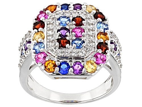 Photo of 2.39ctw Round Multi-Color Gemstone Rhodium Over Sterling Silver Quad Ring - Size 8
