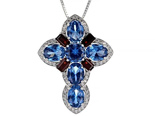 Photo of 8.71ctw Lab Blue Spinel, Vermelho Garnet(TM) & White Zircon Rhodium Over Silver Pendant W/Chain