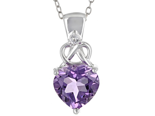 Photo of 2.12ct Heart Shape Amethyst & .03ct Round White Topaz Rhodium Over Silver Pendant-Slide W/Chain