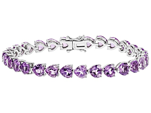 Photo of 18.20ctw Heart Shape Amethyst Rhodium Over Sterling Silver Tennis Bracelet - Size 7.5
