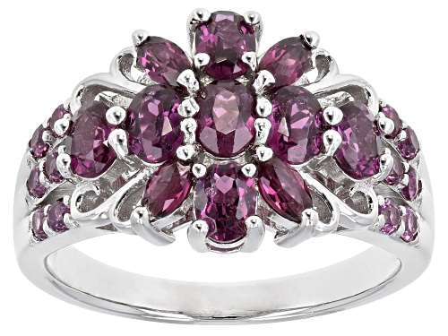Photo of 1.86ctw mixed shapes RASPBERRY COLOR RHODOLITE RHODIUM OVER STERLING SILVER RING - Size 8
