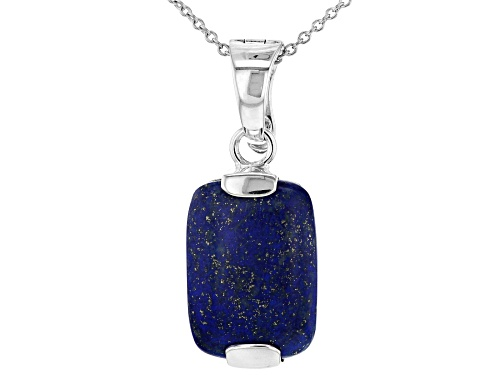 Photo of 23x16MM cushion cabochon Lapis Lazuli Rhodium Over Sterling Silver Enhancer With Chain