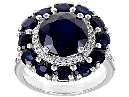 Photo of 4.80ctw Round And Oval Blue Sapphire With .28ctw Round White Zircon Rhodium Over Silver Ring - Size 7