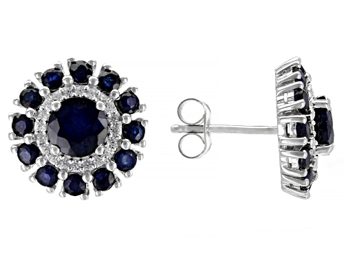 Photo of 3.16ctw Round Blue Sapphire and .24ctw Round White Zircon, Rhodium Over Silver Earrings