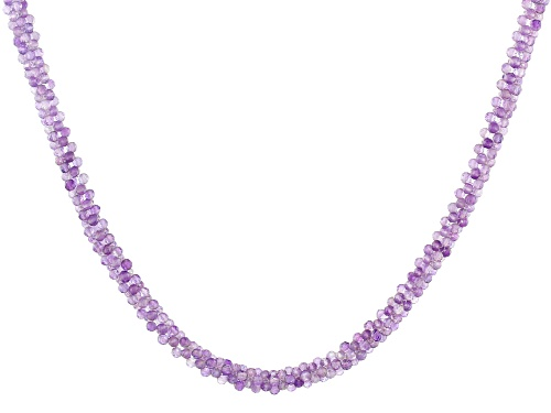 Photo of 2.5-3mm Round Woven Rose de France Amethyst Bead Rhodium Over Sterling Silver Necklace - Size 18