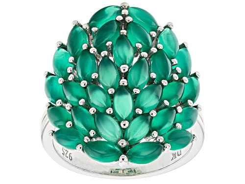 Photo of 5x2.5mm Marquise Green Onyx Rhodium Over Sterling Silver Cluster Ring - Size 7