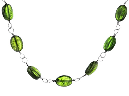 Photo of Graduated Oval Russian Chrome Diopside Beads, Rhodium Over Sterling Silver Necklace - Size 18
