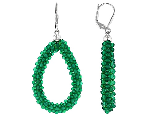 Photo of 2mm Green Onyx Bead Rhodium Over Sterling Silver Dangle Earrings