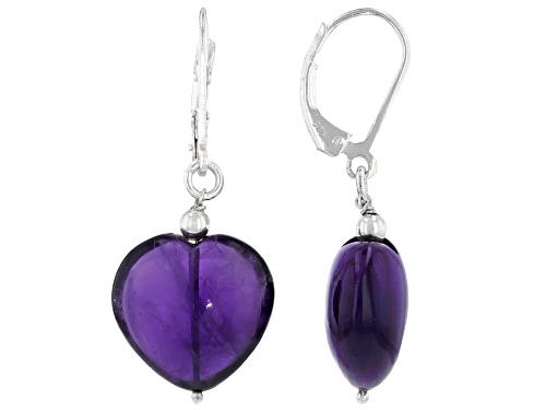 Photo of 18.00ctw Heart Shape Double Cabochon African Amethyst Rhodium Over Sterling Silver Dangle Earrings