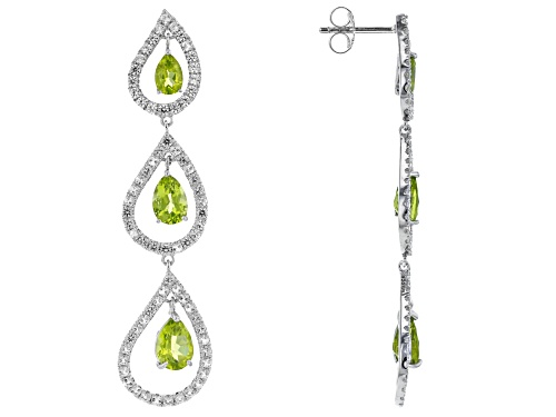 Photo of 3.83ctw Manchurian Peridot(TM) & 2.53ctw White Topaz Rhodium Over Silver Chandelier Earrings