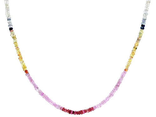 Photo of Graduated 3-4mm Multi-Sapphire Rondelle Bead Rhodium Over Sterling Silver Necklace - Size 18