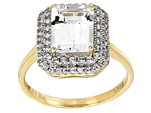 Photo of 2.32ct Emerald Cut White Danburite And .61ctw Round White Zircon 10k Yellow Gold Ring - Size 9