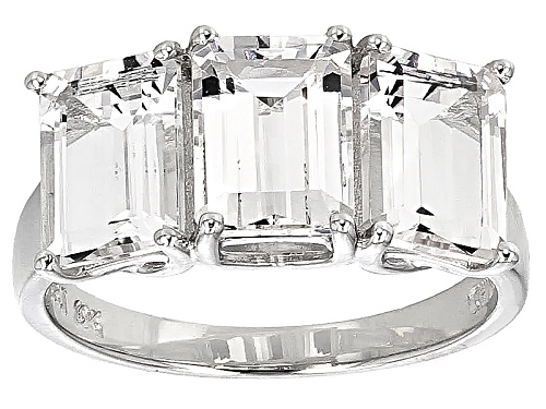 Photo of 5.00ctw Emerald Cut White Danburite 10k White Gold 3-Stone Ring - Size 7