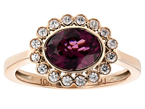 Photo of 1.40ct Oval Grape Color Garnet Set East/West With .16ctw Round White Zircon 10k Rose Gold Ring - Size 7