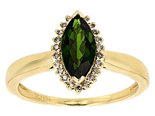 Photo of 1.10ct Marquise Russian Chrome Diopside And .09ctw Champagne Diamond Accent 10k Yellow Gold Ring - Size 7