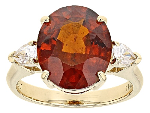 Photo of 5.50ct Oval Hessonite Garnet And .40ctw Pear Shape White Zircon 10k Yellow Gold Ring - Size 8
