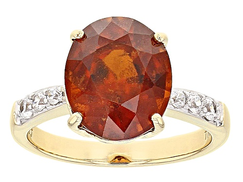 Photo of 4.30ct Oval Hessonite Garnet And .26ctw Round White Zircon 10k Yellow Gold Ring - Size 7