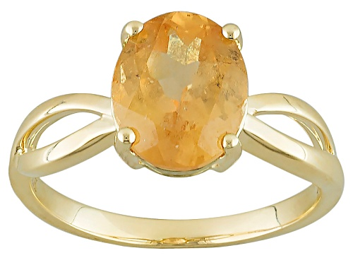 Photo of 2.50ct Oval Imperial Hessonite® Garnet 10k Yellow Gold Solitaire Ring - Size 7