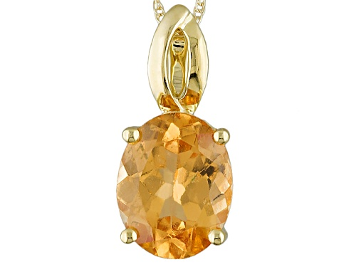 Photo of 2.50ct Oval Imperial Hessonite Garnet 10k Yellow Gold Pendant With Chain