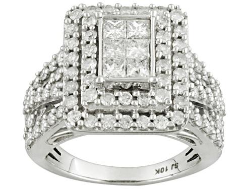 Photo of 1.85ctw Round & Princess Cut Diamond 10k White Gold Ring - Size 10