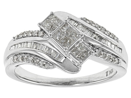Photo of .50ctw Princess Cut, Baguette And Round White Diamond 10k White Gold Bypass Ring - Size 6