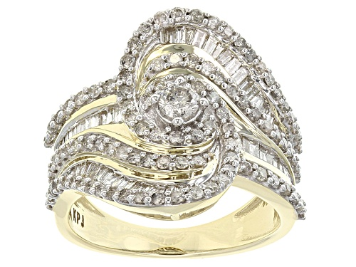 Photo of 1.50ctw Round And Baguette White Diamond 10k Yellow Gold Crossover Ring - Size 8