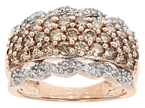 Photo of 1.75ctw Round Champagne And White Diamond 10k Rose Gold Band Ring - Size 6